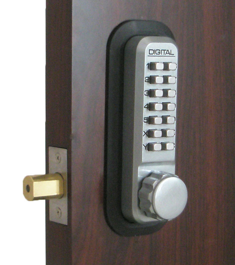 Lockey 2210dc keyless mechanical digital double sided combination deadbolt door lock satin chrome - Sliding door combination lock ...
