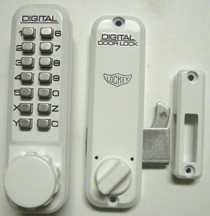 Lockey 2500 keyless mechanical digital sliding door hook lock white - Sliding door combination lock ...