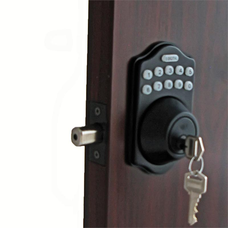 lockey e digital keyless electronic deadbolt door lock bronze with remote. Black Bedroom Furniture Sets. Home Design Ideas