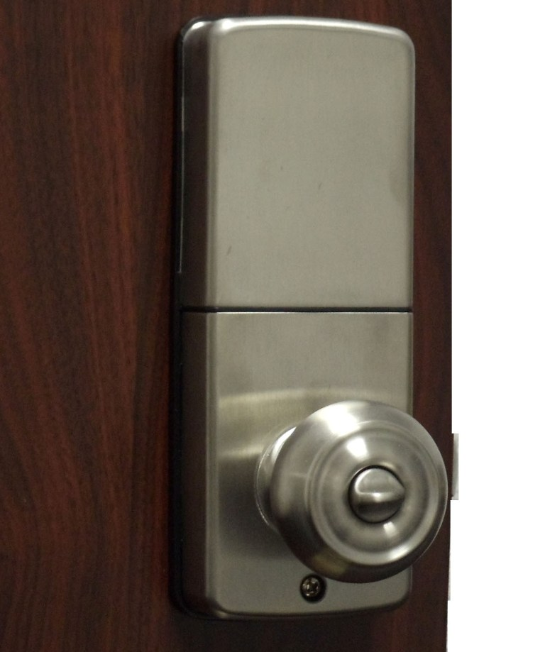 lockey e digital keyless electronic knob door lock satin chrome with remote. Black Bedroom Furniture Sets. Home Design Ideas