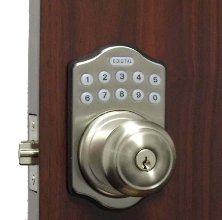 lockey e digital keyless electronic knob door lock satin. Black Bedroom Furniture Sets. Home Design Ideas