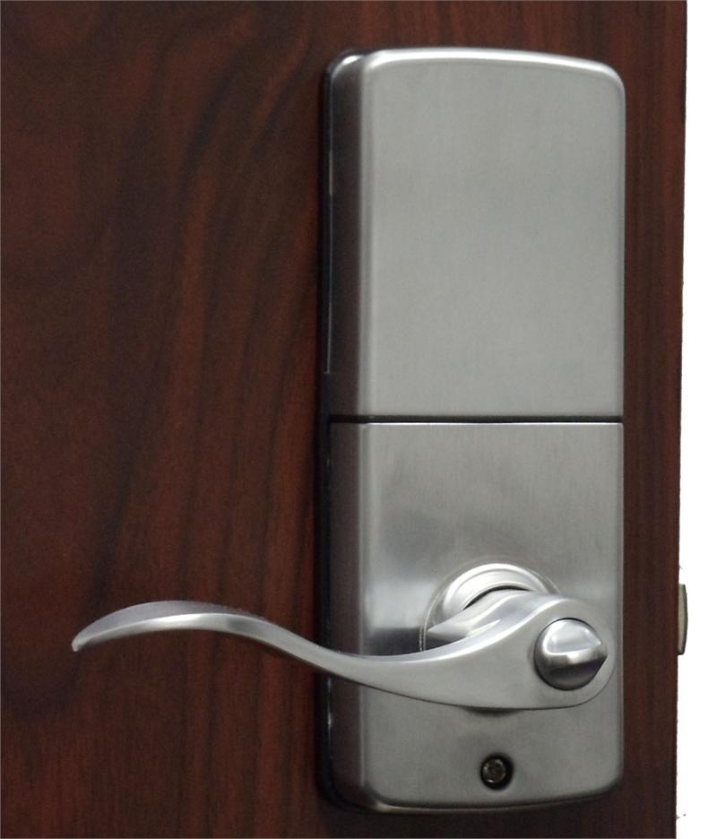 lockey e digital keyless electronic lever door lock satin. Black Bedroom Furniture Sets. Home Design Ideas