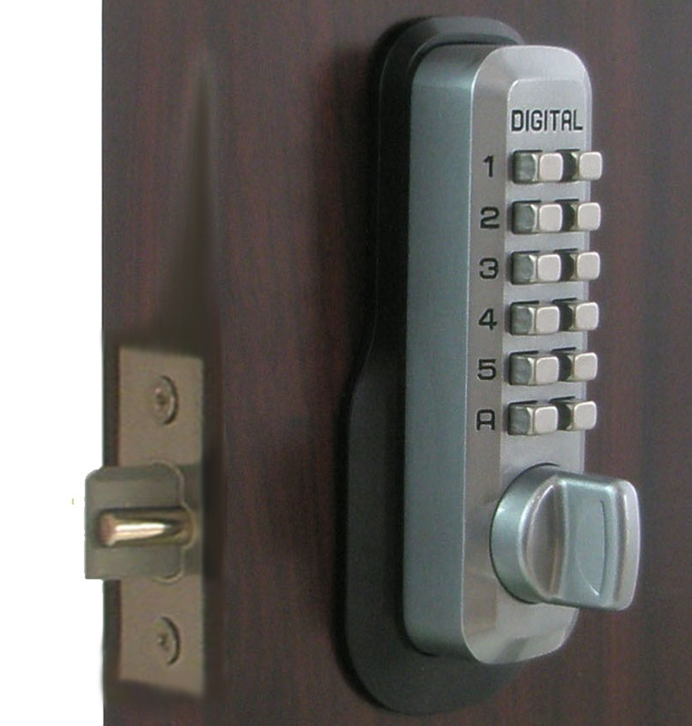 lockey m230 satin chrome keyless mechanical digital springlatch door lock. Black Bedroom Furniture Sets. Home Design Ideas