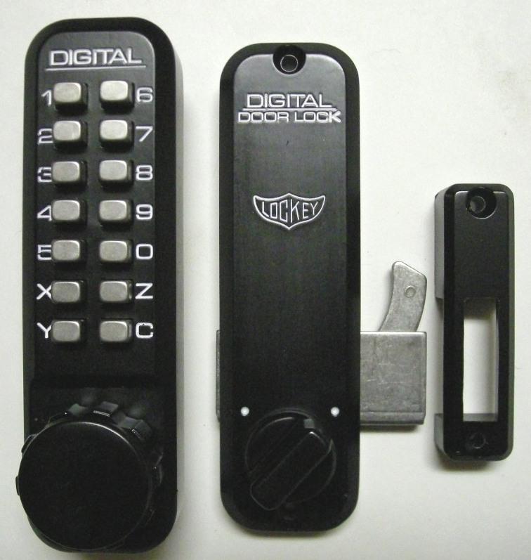 Lockey 2500 Keyless Mechanical Digital Sliding Door Hook Lock Jet Black