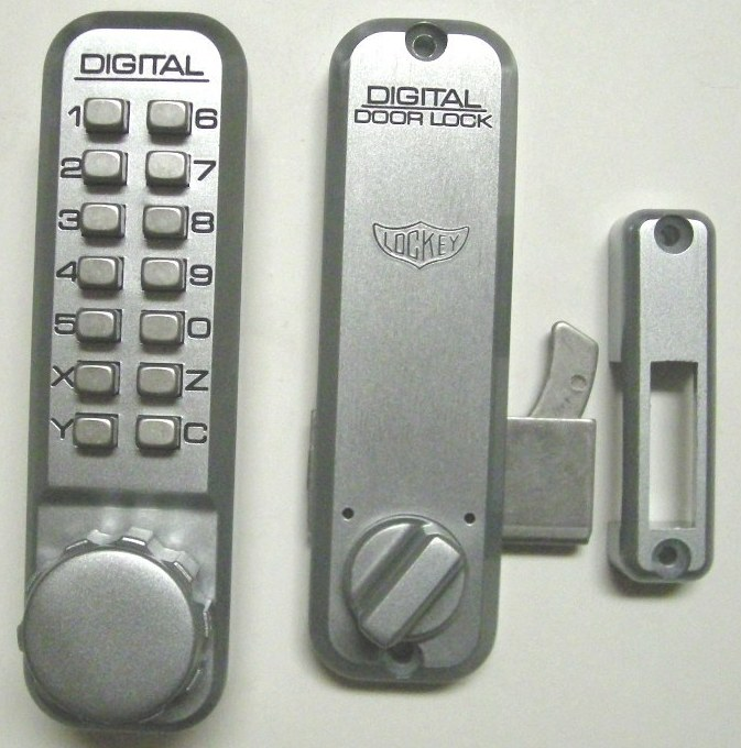 Lockey 2500 Keyless Mechanical Digital Sliding Door Hook Lock Satin