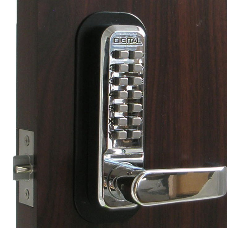 Lockey 2835DC Keyless Mechanical Digital Double Sided Bright Chrome
