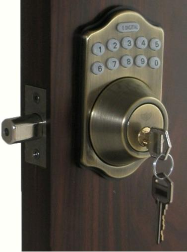 lockey e digital keyless electronic deadbolt door lock antique brass with remote. Black Bedroom Furniture Sets. Home Design Ideas