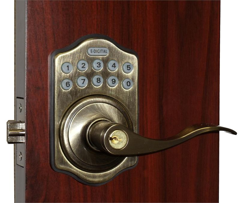 Lockey E Digital Keyless Electronic Lever Door Lock Antique Brass with Remo - Lockey E Digital Keyless Electronic Lever Door Lock Antique Brass