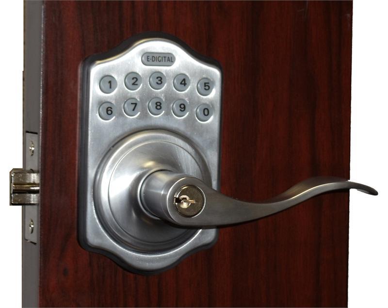 Lockey E Digital Keyless Electronic Lever Door Lock Satin