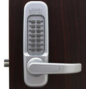 Lockey 1150DC Keyless Mechanical Digital Double Sided Combination Spring Latch Door Lock Marine Grade/Satin Chrome