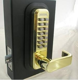 Lockey 2835DC Keyless Mechanical Digital Double Sided Combination Spring Latch Door Lock Bright Brass