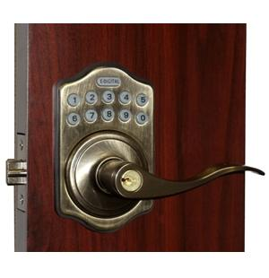 Lockey E Digital Keyless Electronic Lever Door Lock Antique Brass With  Remote