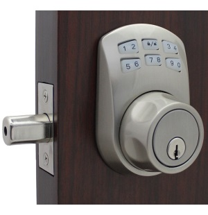 Lockey SL910 Slim Line Keyless Electronic/Mechanical Deadbolt Satin Nickel