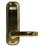 Lockey 1150 Keyless Mechanical Digital Spring Latch Door Lock Bright Brass Right Hand