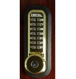 Lockey 2210DC-KO Mechanical Digital Double Sided Combination Deadbolt Door Lock With Key Override Bright Brass