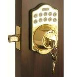 Lockey E Digital Keyless Electronic Deadbolt Door Lock Bright Brass With Remote