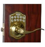 Lockey E Digital Keyless Electronic Lever Door Lock Bright Brass with Remote
