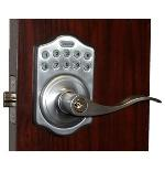 Lockey E Digital Keyless Electronic Lever Door Lock Satin Chrome with Remote