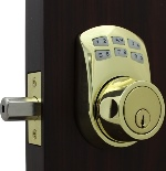 Lockey SL910 Slim Line Keyless Electronic/Mechanical Deadbolt Bright Brass